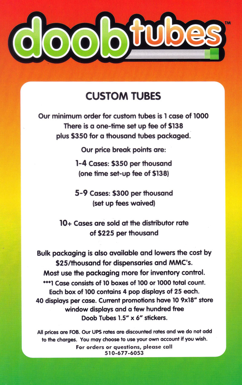 Custom Doob Tube Pricing