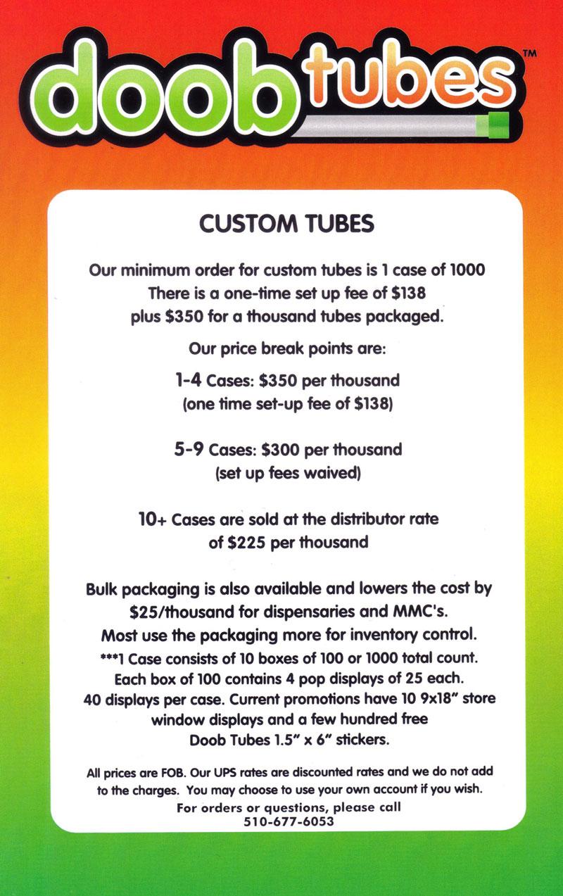 Custom Doob Tube Pricing